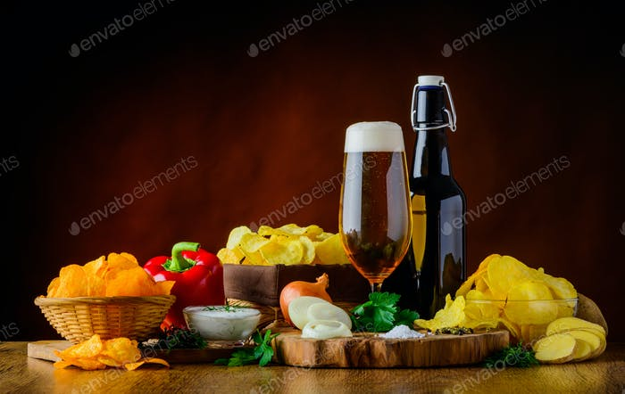 Beer and Potato Chips and Ingredients