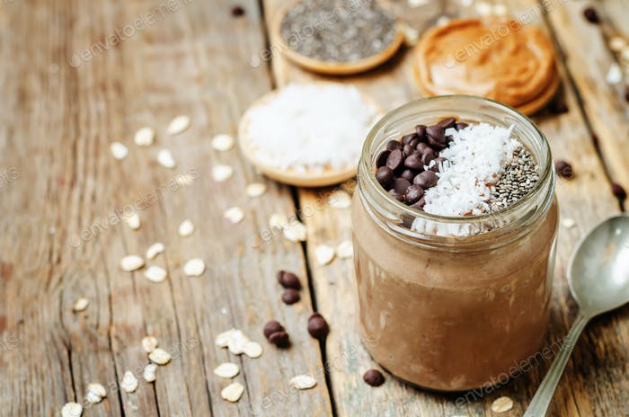 Chocolate Coconut Chia seeds overnight oats