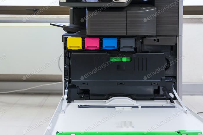 copier with four toner cartridges with open cover