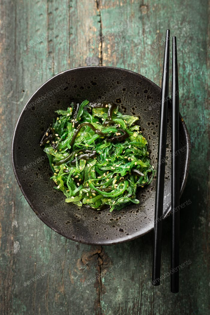 Seaweed salad served and ready to eat