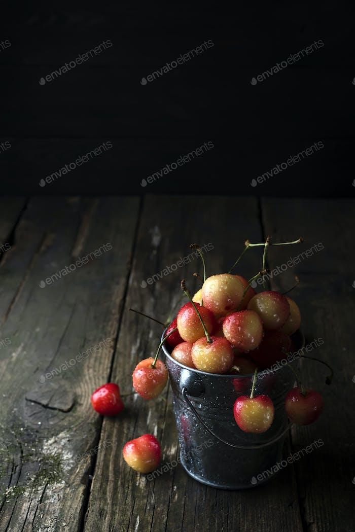 Свежая вишня в ведро