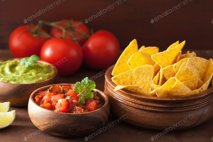 mexican guacamole and salsa dip, nachos tortilla chips