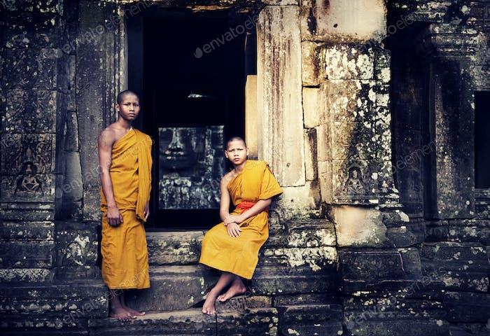Contemplating Monk in Cambodia.