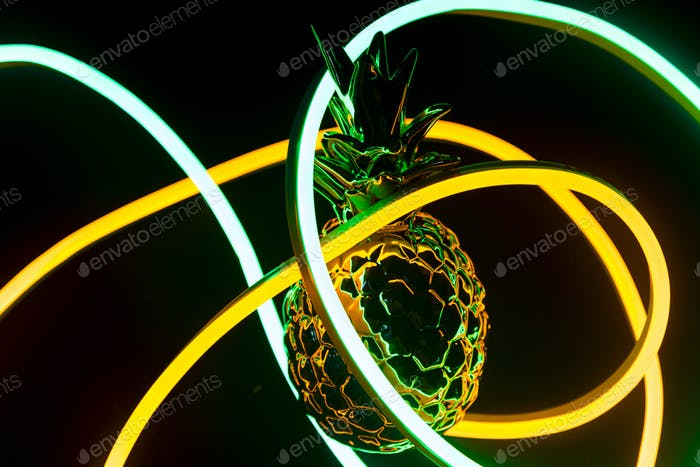 Pineapple covered in neon lights