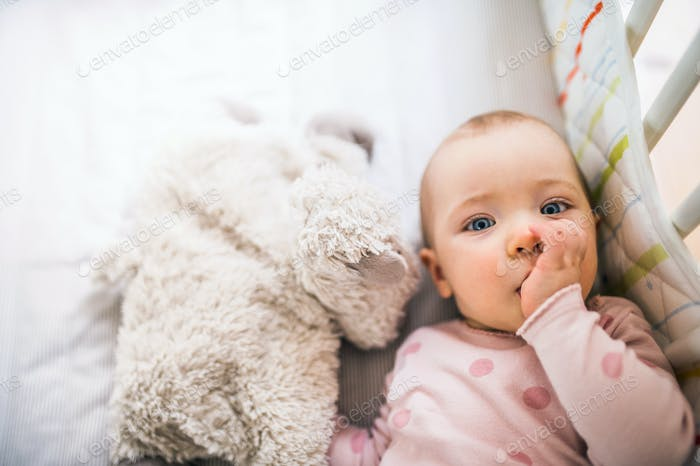 A toddler girl lying in a cot in the bedroom at home, a finger in her mouth.