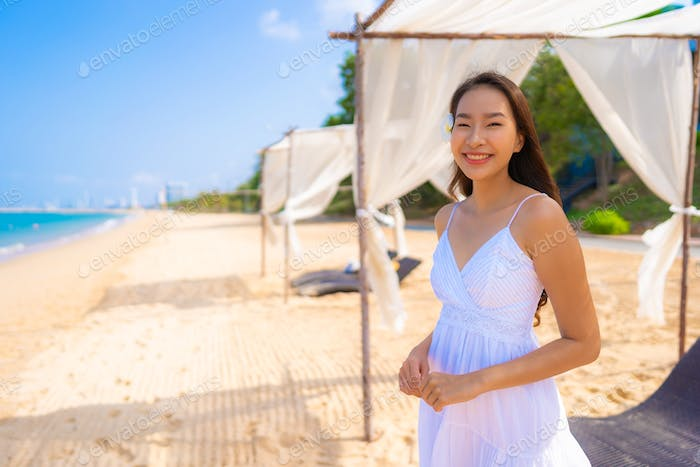 Portrait beautiful young asian woman happy smile leisure on the