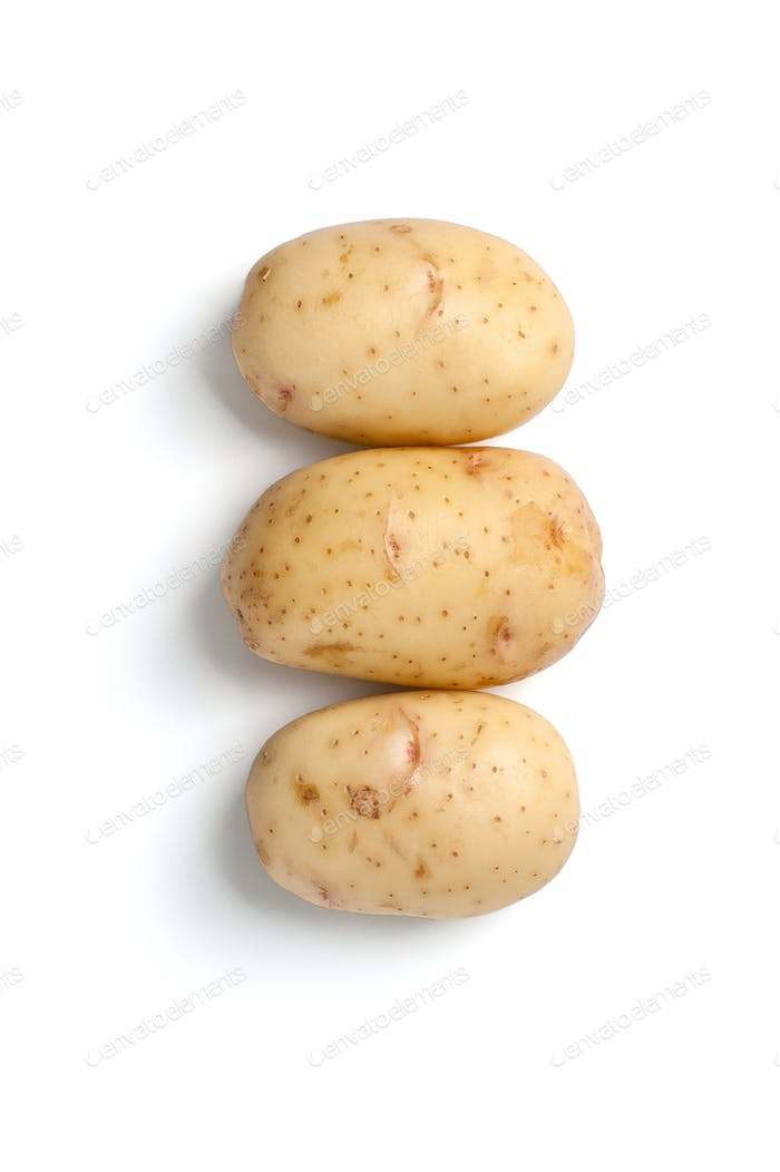 Fresh young potatoes isolated on white background.