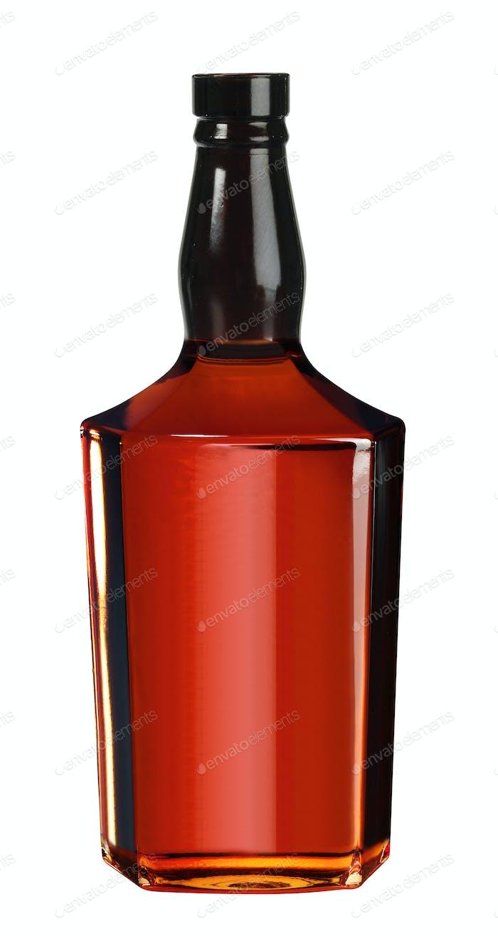Voller Whisky, Cognac, Brandy Flasche isoliert auf weißem Hintergrund
