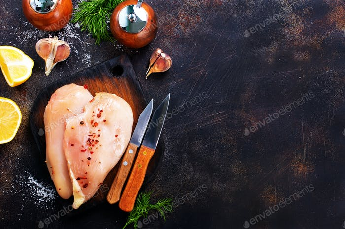 raw chicken fillets
