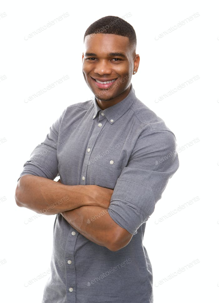 Happy african american man posing with arms crossed