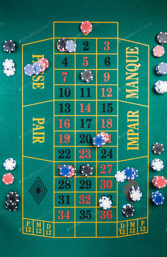 Full Size Casino Roulette Table. Green Felt with Numbers. Top Vi