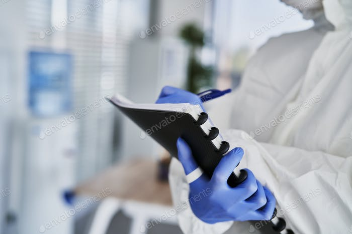 Close up of inspection technician