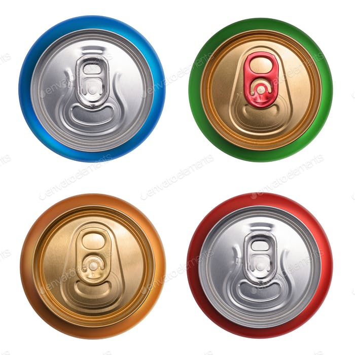 Set of drink cans. Top view isolated on white background
