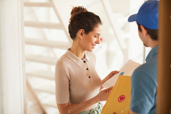 Woman getting letters from man