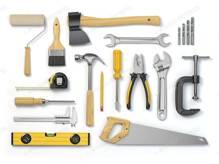 Satz von Werkzeugen isoliert auf weißem Hintergrund. Hammer, Schraubendreher,