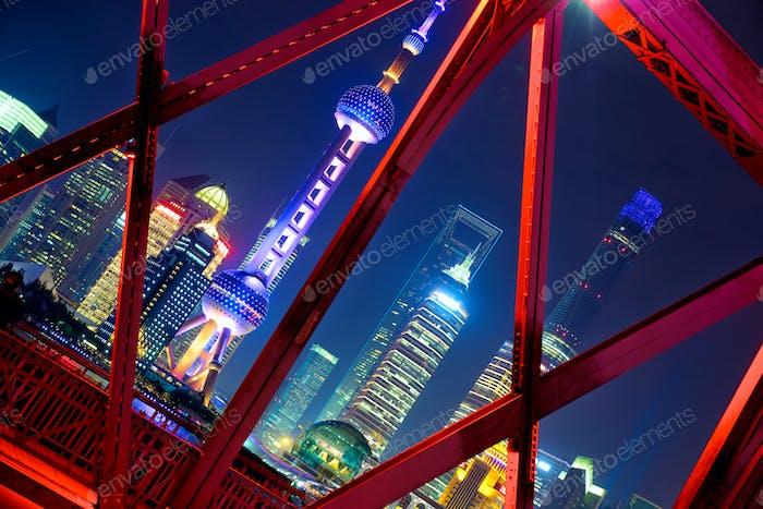 Shanghai skyline across Garden Bridge