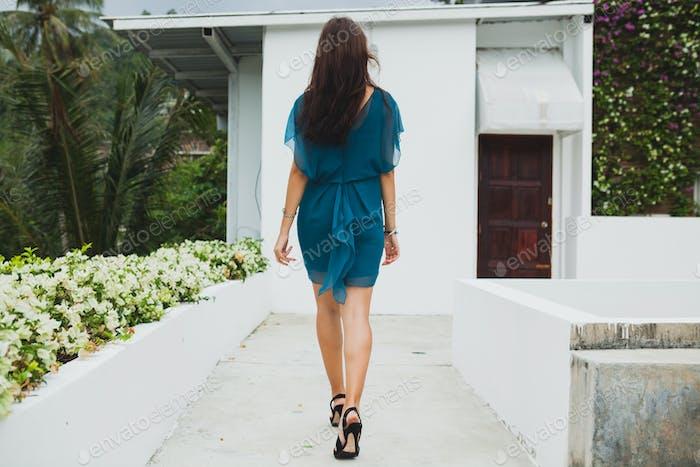 young stylish beautiful woman in blue dress, summer fashion trend