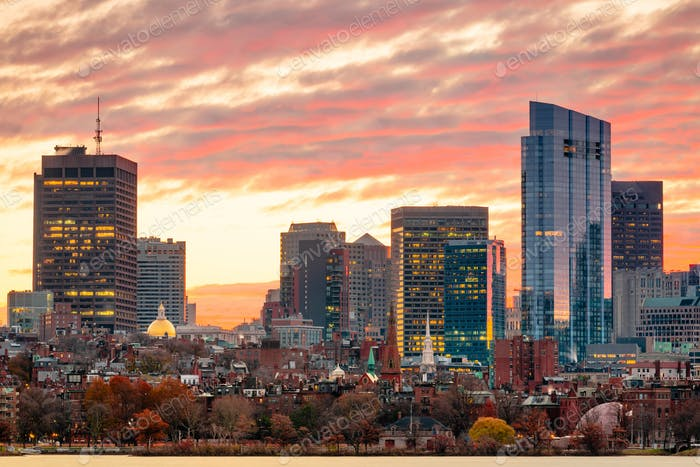 Boston, Massachusetts, USA downtown cityscape from across the Charles River