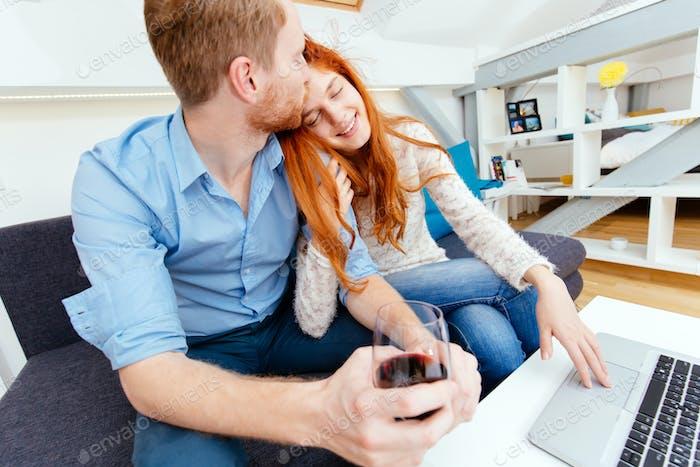 Couple suring on internet
