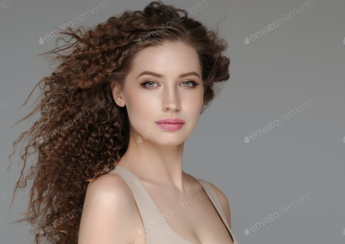 Curly hair woman long beautiful curl hairstyle female