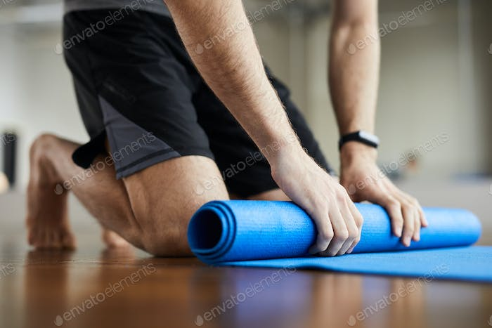Rolling out exercise mat