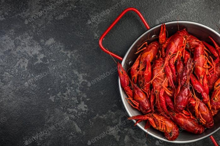 Fresh Crayfish in Soucepan on Dark Background