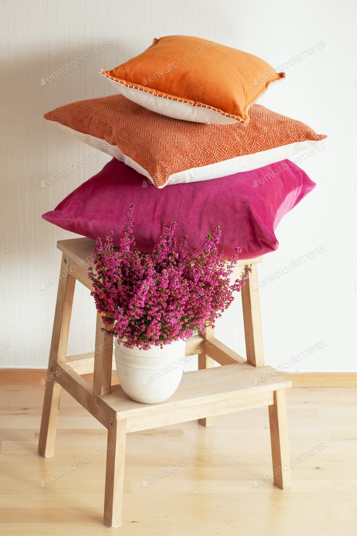 colorful cushions cozy home autumn mood flower