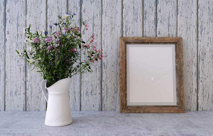 Bouquet of spring field flowers with frame. 3D Illustration.