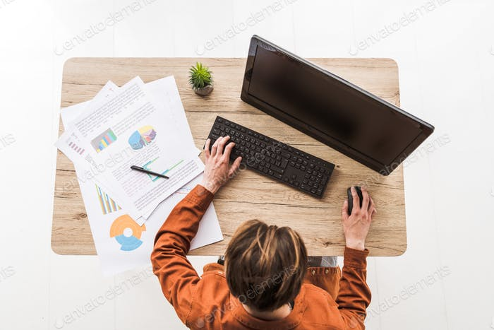 top view of man working on computer at table with infographics and potted plant