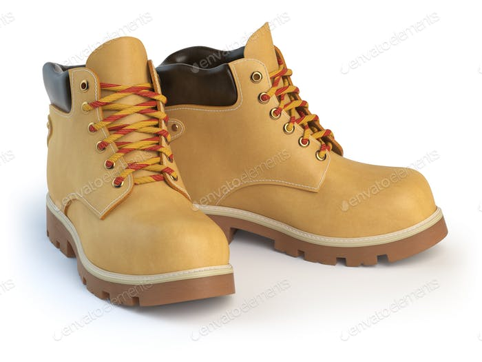 Yellow man´s  boots isolated on white background.