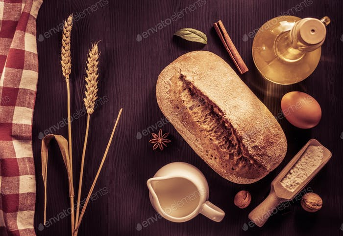 bread and bakery  ingredients on wood