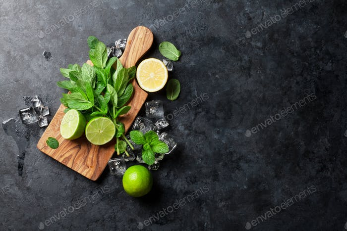 Mint, lime and ice