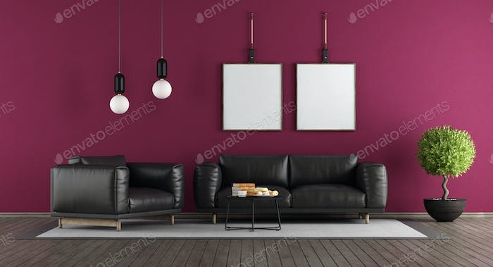 Purple and black modern lounge