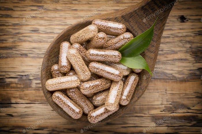 Alternative Medicine. Vitamin capsules.
