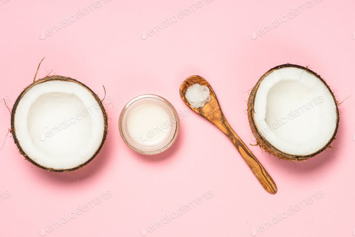 Coconut oil, natural cosmetic top view