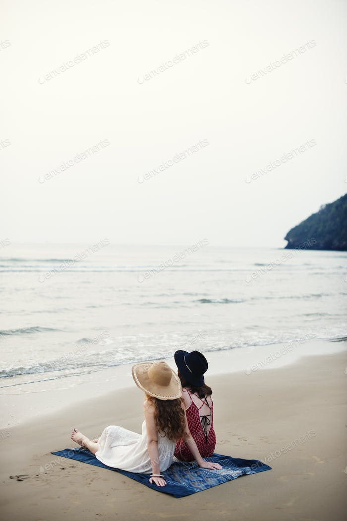 Girls Beach Summer Holiday Vacation Togetherness Concept