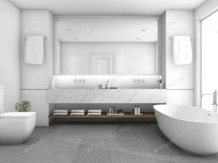 3d rendering white luxury bathroom near window