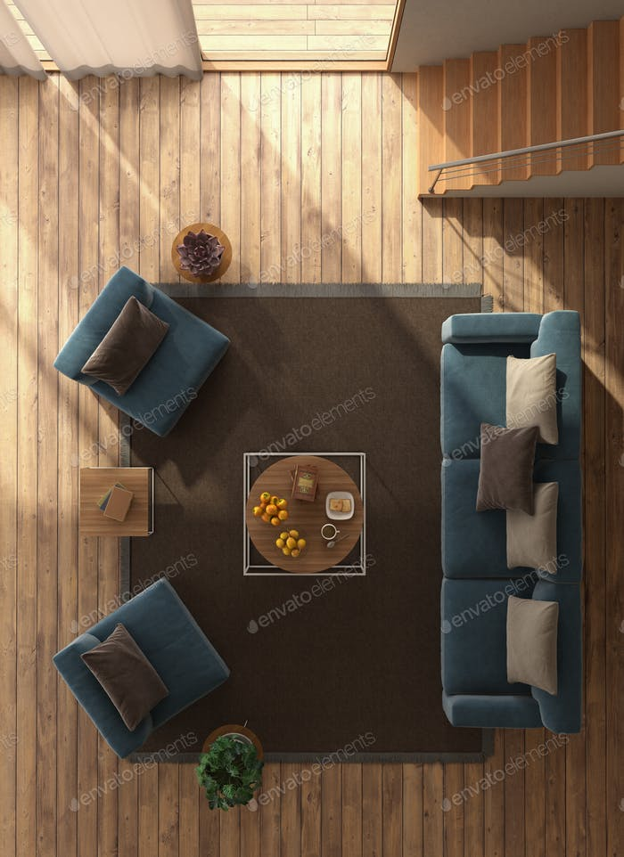 Top view of a minimalist living room