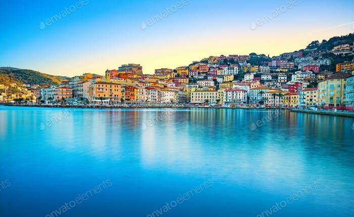 Porto Santo Stefano panoramic view of seafront. Argentario, Tusc