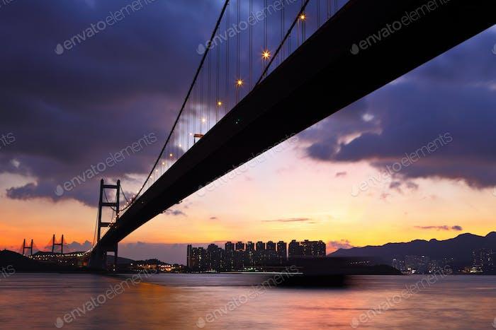 traffic highway bridge at night in hong kong
