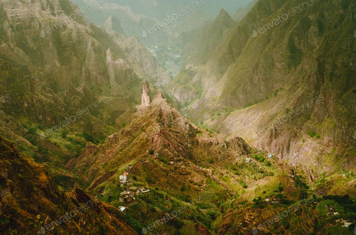 Mountain peak in Xo-Xo valley at Santo Antao island in Cape Verde