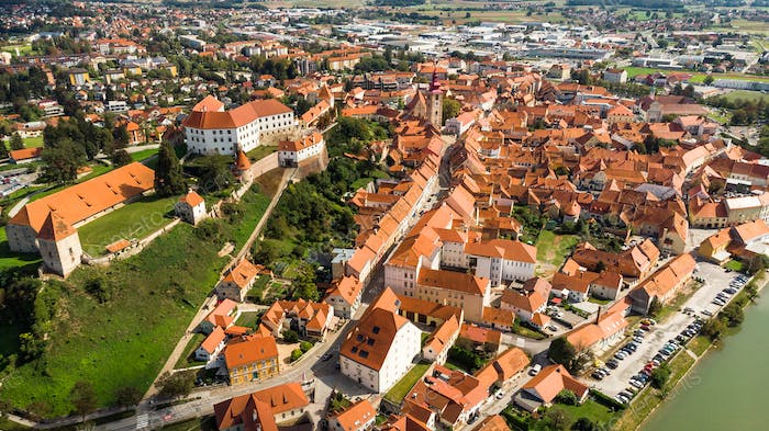 Aerial Drone View over Ptuj Grad in Slovenia at Sunny Day