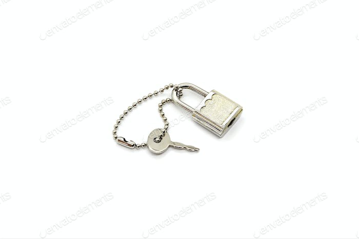 Small metallic padlock and key for bag or suitcase