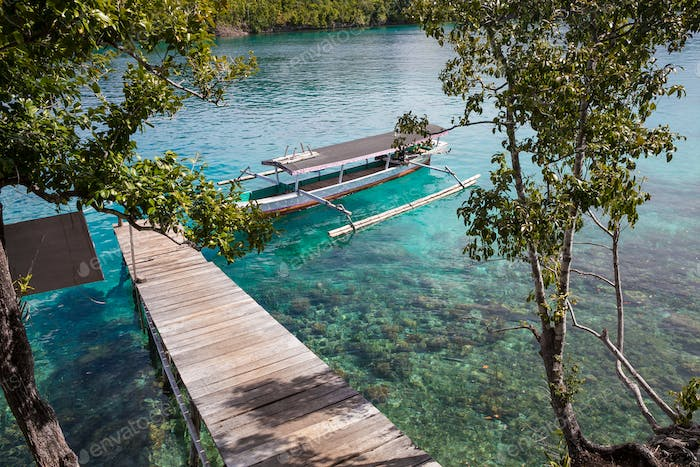 Photo Natural Wood Long Tail Boat Parked Caribbean Ocean Pier. Clear blue water. Horizontal.
