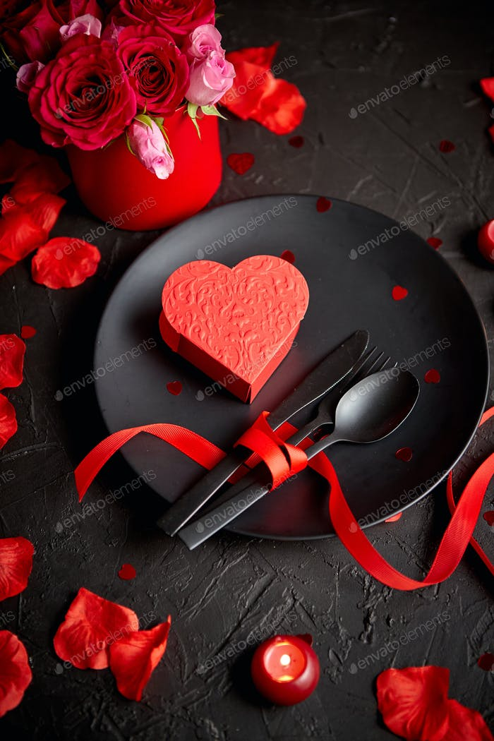 Valentines day, table setting and romantic dinner concept
