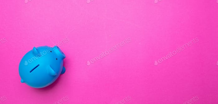 Piggy bank blue color against bright pink background
