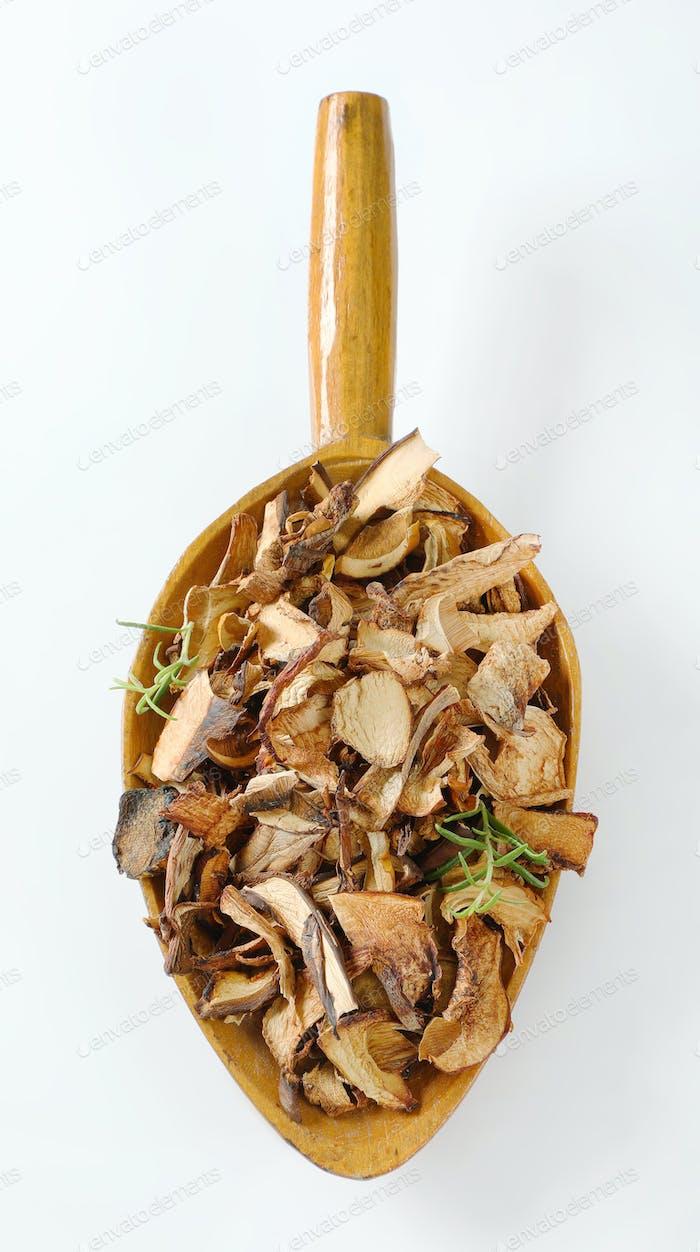 scoop of dried mushrooms