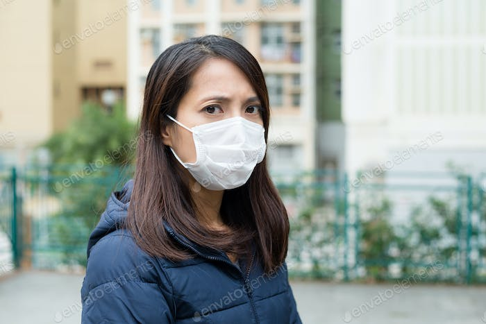 Young lady with a face mask