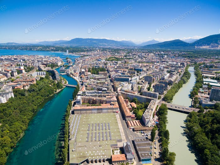 Aerial view of Arve an Rhone river confluent in  Geneva Switzerl
