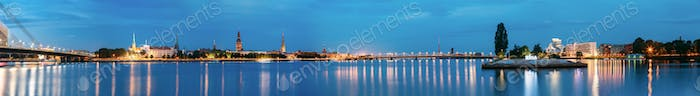 Riga Latvia. Panoramic Urban View Of Daugava, Landmarks In Illum